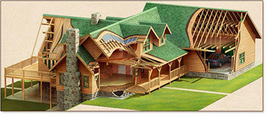 Log timber home design center log home materials for House material packages