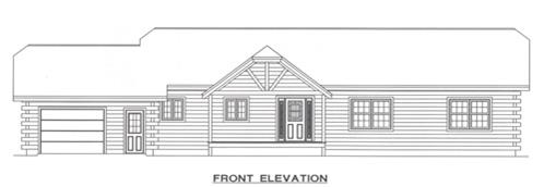 Timberhaven log home design, log home floor plan, 2097, Elevation