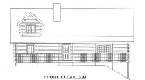 Timberhaven log home design, log home floor plan, 2466, Elevation