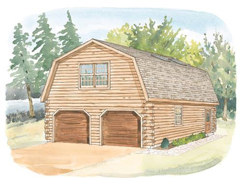 Timberhaven log home design, log home floor plan, 24x24 Studio Gambrel Garage, Elevation