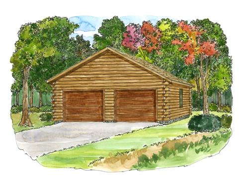 Timberhaven log home design, log home floor plan, 24x26 Standard Garage, Elevation