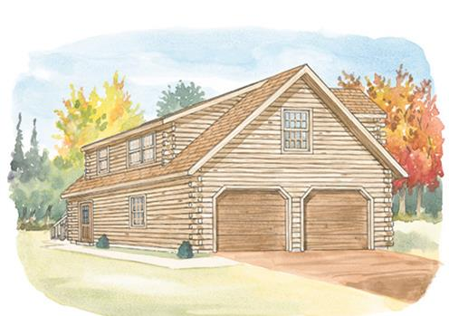 Log Home Design Center 24x26 Standard Studio Garage Details