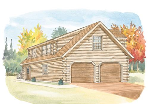 Timberhaven log home design, log home floor plan, 24x26 Standard Studio Garage, Elevation