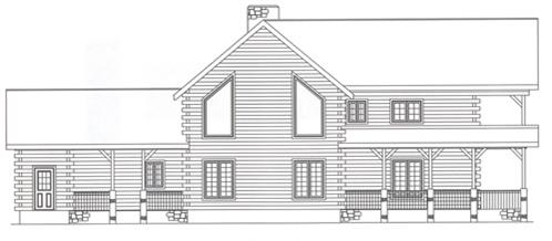 Timberhaven log home design, log home floor plan, 2720, Elevation