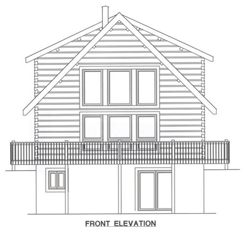 Timberhaven log home design, log home floor plan, 3029, Elevation