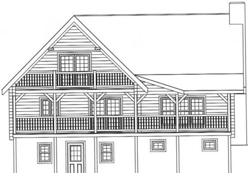 Timberhaven log home design, log home floor plan, 3042, Elevation