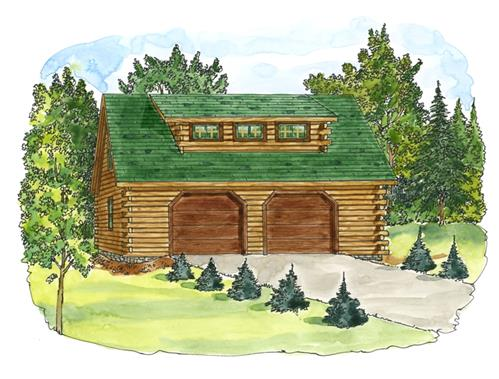 Timberhaven log home design, log home floor plan, 30x26 Standard Carriage Garage, Elevation