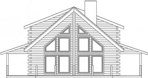 Timberhaven log home design, log home floor plan, 3177, Elevation