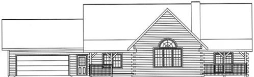 Timberhaven log home design, log home floor plan, 3202, Elevation