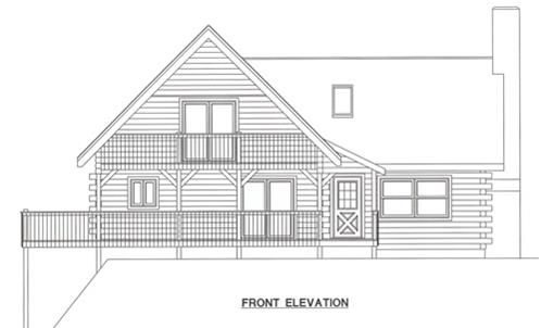 Timberhaven log home design, log home floor plan, 3208, Elevation