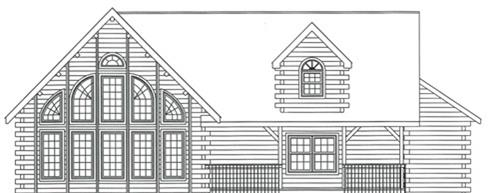 Timberhaven log home design, log home floor plan, 3324, Elevation