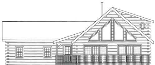 Timberhaven log home design, log home floor plan, 3334, Elevation