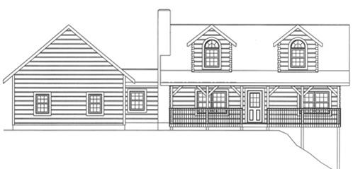 Timberhaven log home design, log home floor plan, 3388, Elevation