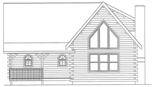 Timberhaven log home design, log home floor plan, 3443, Elevation
