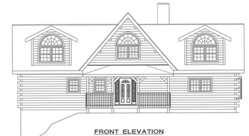 Timberhaven log home design, log home floor plan, 3497, Elevation