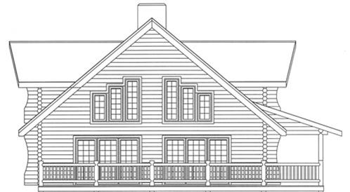 Timberhaven log home design, log home floor plan, 3597, Elevation
