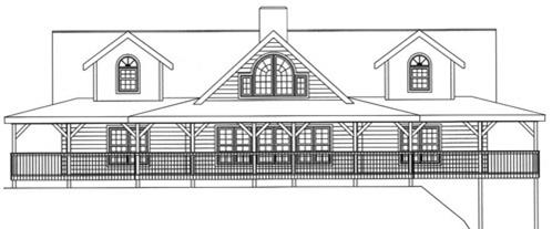 Timberhaven log home design, log home floor plan, 3600, Elevation