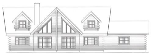 Timberhaven log home design, log home floor plan, 3612, Elevation