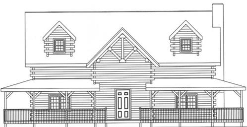 Timberhaven log home design, log home floor plan, 3613, Elevation