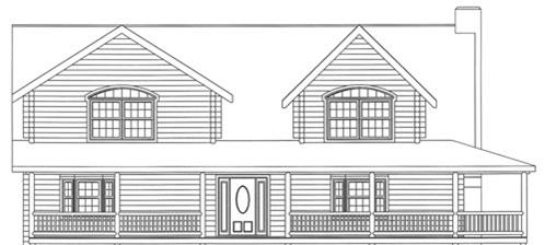 Timberhaven log home design, log home floor plan, 3617, Elevation