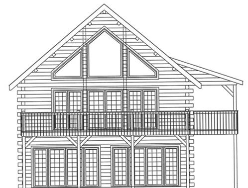 Timberhaven log home design, log home floor plan, 3619, Elevation