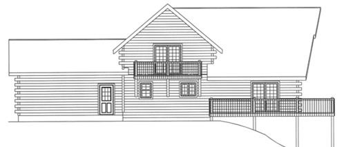Timberhaven log home design, log home floor plan, 3620, Elevation