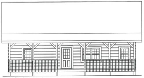 Timberhaven log home design, log home floor plan, 3630, Elevation