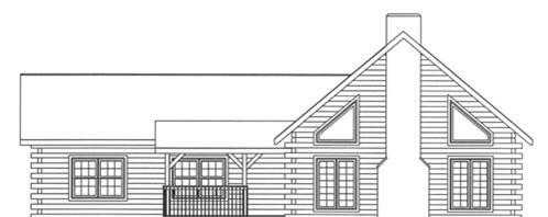 Timberhaven log home design, log home floor plan, 3665, Elevation