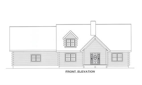 Timberhaven log home design, log home floor plan, 3683, Elevation