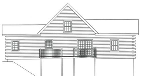 Timberhaven log home design, log home floor plan, 3706, Elevation