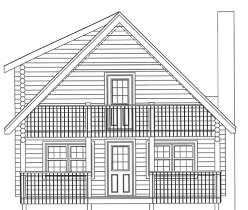 Timberhaven log home design, log home floor plan, 3731, Elevation