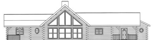 Timberhaven log home design, log home floor plan, 3741, Elevation