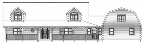 Timberhaven log home design, log home floor plan, 3751, Elevation