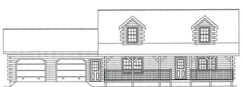 Timberhaven log home design, log home floor plan, 3814, Elevation