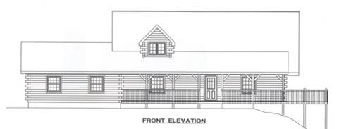 Timberhaven log home design, log home floor plan, 3882, Elevation