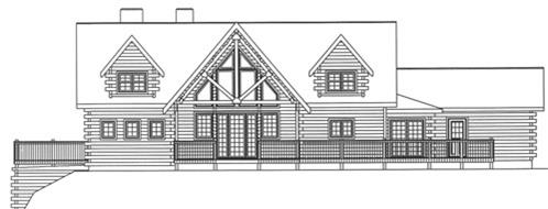 Timberhaven log home design, log home floor plan, 3968, Elevation