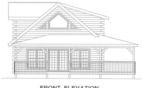 Timberhaven log home design, log home floor plan, 4042, Elevation