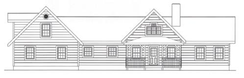 Timberhaven log home design, log home floor plan, 4057, Elevation