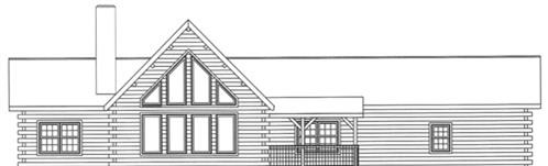 Timberhaven log home design, log home floor plan, 4076, Elevation