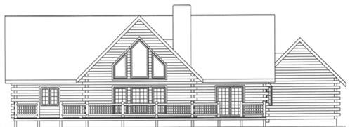 Timberhaven log home design, log home floor plan, 4090, Elevation
