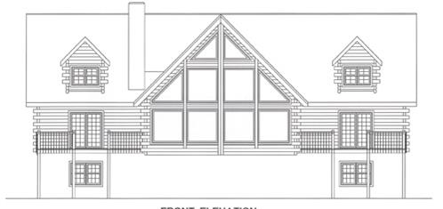 Timberhaven log home design, log home floor plan, 4129, Elevation