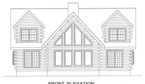 Timberhaven log home design, log home floor plan, 4144, Elevation