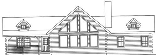 Timberhaven log home design, log home floor plan, 4188, Elevation
