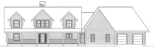 Timberhaven log home design, log home floor plan, 4291, Elevation