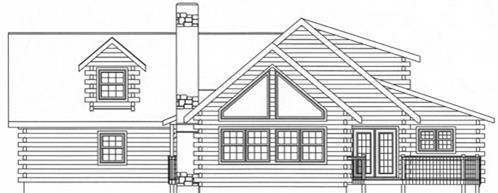 Timberhaven log home design, log home floor plan, 4315, Elevation