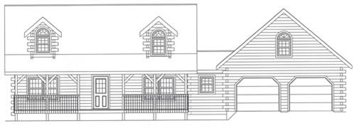 Timberhaven log home design, log home floor plan, 4316, Elevation