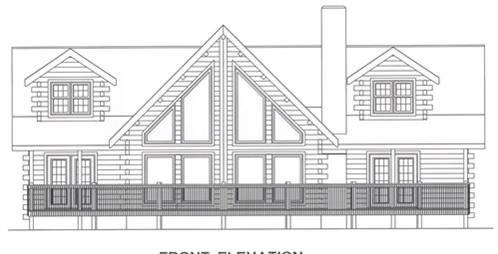 Timberhaven log home design, log home floor plan, 4320, Elevation