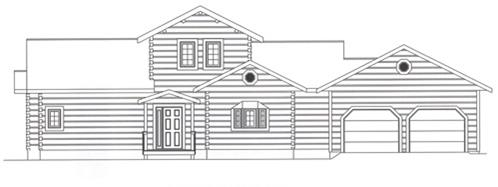 Timberhaven log home design, log home floor plan, 4336, Elevation