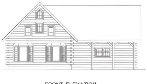 Timberhaven log home design, log home floor plan, 4337, Elevation