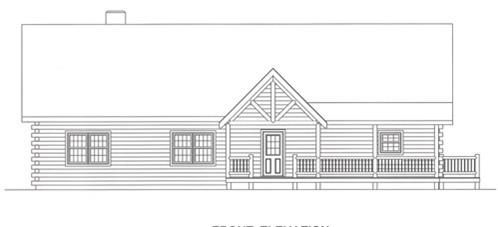 Timberhaven log home design, log home floor plan, 4356, Elevation